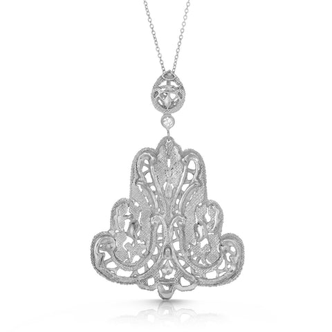 Blooming Lace Silver Filigree Pendant Necklace