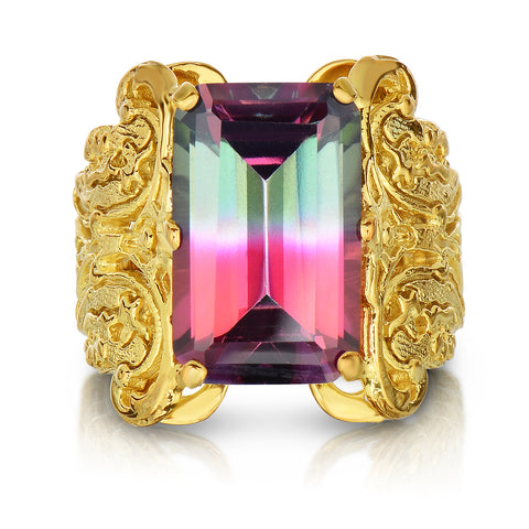 Watermelon Tourmaline Gold Lace Ring