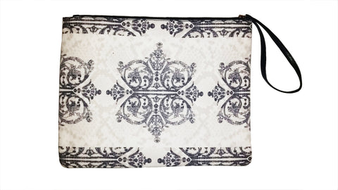 Diamonds & Python (Ivory) - Canvas Wristlet