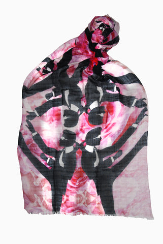 Karl Lagerfeld is Really Chuck Norris/Karate Karl Scarf (Rose) - Silk Charmeuse
