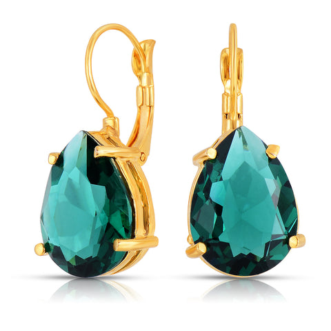 Emerald Quartz Single Stone Earrings