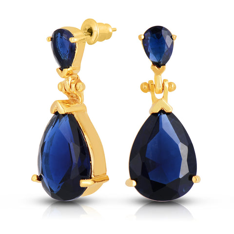 Deep Sapphire Quartz Double Stone Earrings