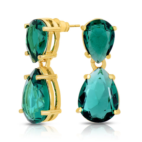Emerald Quartz Double Stone Earrings
