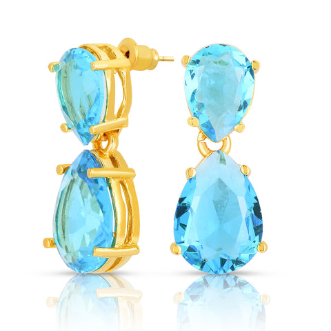 Aquamarine Quartz Double Stone Earrings