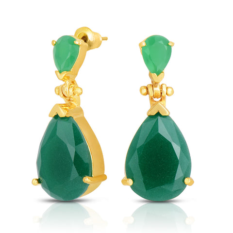 Opaque Emerald Quartz Double Stone Earrings