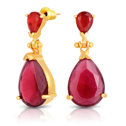 Ruby Quartz Double Stone Earrings