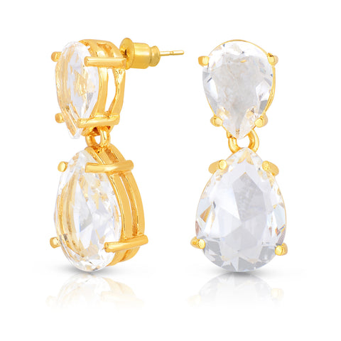 White Quartz Double Stone Earrings