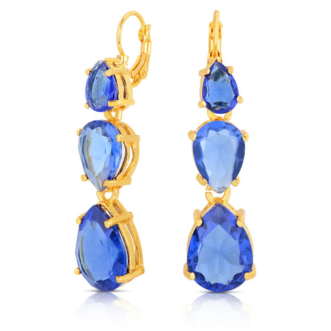 Sapphire Quartz Tri-Stone Earrings