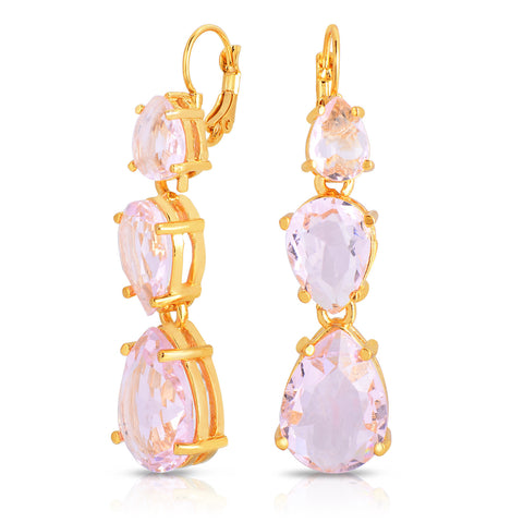 Rose Quartz Tri-Stone Earrings