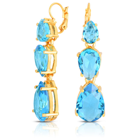 Aquamarine Quartz Tri-Stone Earrings