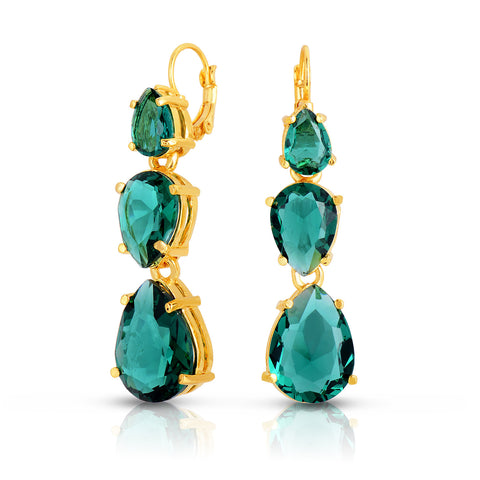 Emerald Quartz Tri-Stone Earrings