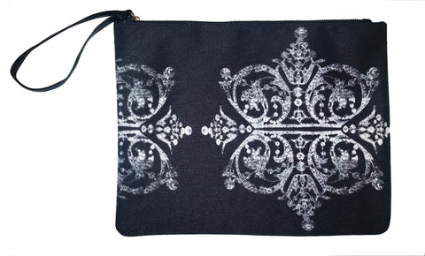 Diamonds & Python (Caviar) - Canvas Wristlet