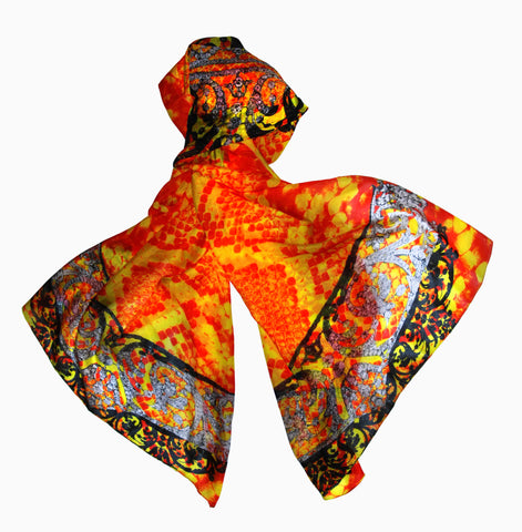 Rock Royalty (Tangerine)-Silk Chiffon Scarf