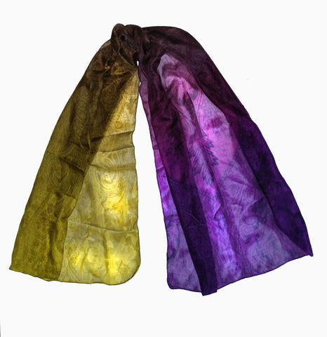 Twilight VS Daylight-Silk Chiffon Ombre Paisley Scarf