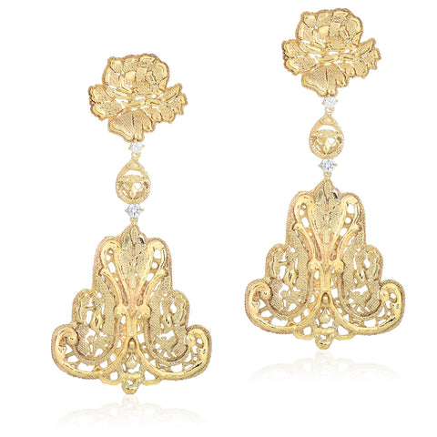 Gold Lace Filigree Chandelier Earrings