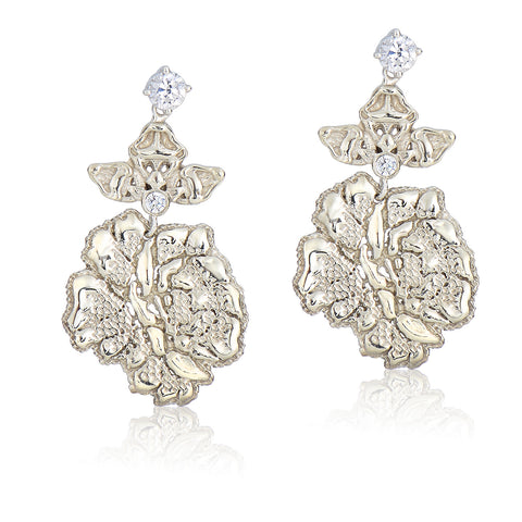 Silver Blooming Lace Earrings