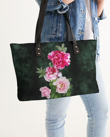 Fleur de Lis green pink crystal back Stylish Tote
