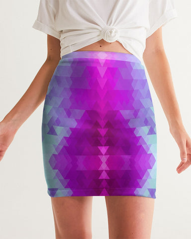 Purple Blue Aztec Women's Mini Skirt