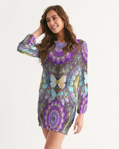 Big Blingy Starry Night Women's Long Sleeve Chiffon Dress
