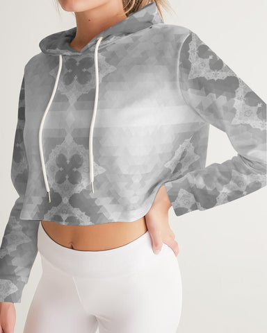 Aztec Lace Grey and White Women's Cropped Hoodie