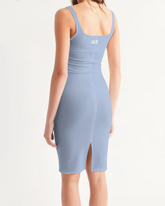 CLV = 155 Periwinkle Women's Midi Bodycon Dress