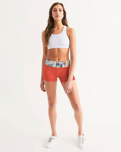 The Reconstruction of Change - Cinnabar Women's Mid-Rise Yoga Shorts
