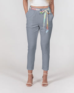 Untitled Series - Remembering Spring - Rock Blue Women's Belted Tapered Pants