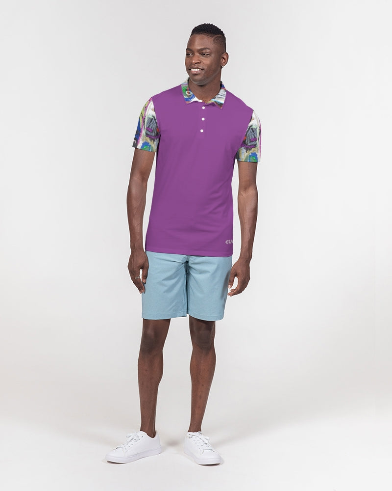 The Reconstruction of Change - Vivid Violet Men's Slim Fit Short Sleeve Polo