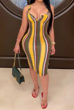 Load image into Gallery viewer, Celia Elizabeth Green And Yellow Striped Bodycon Dress
