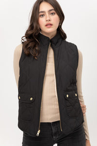 Reversible Black Quilted Vest