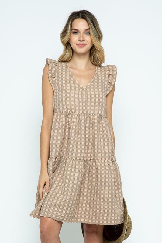 preppy plaid taupe spring dress with ruffle sleeveless detail