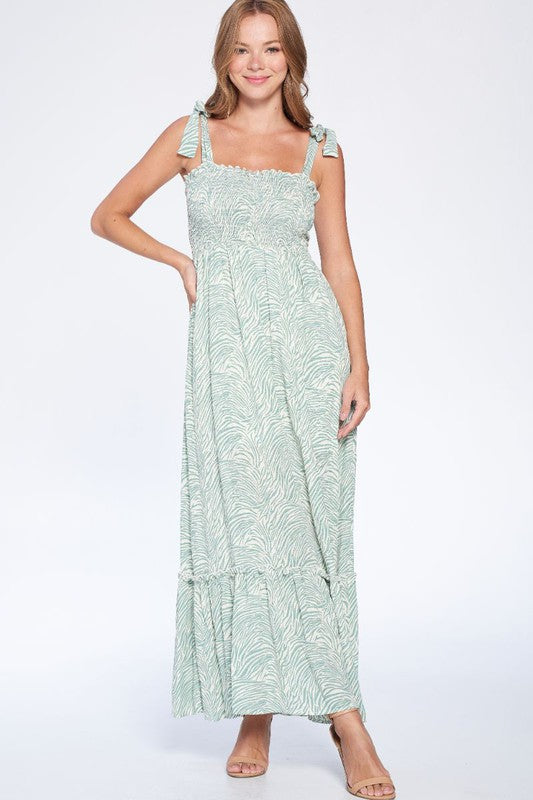 light green zebra patterned maxi dress with ties at shoulder and ruching at bust