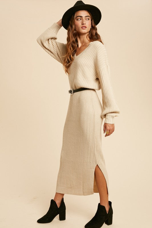 long sweater maxi dress in cream with slight balloon sleeve and v-neck