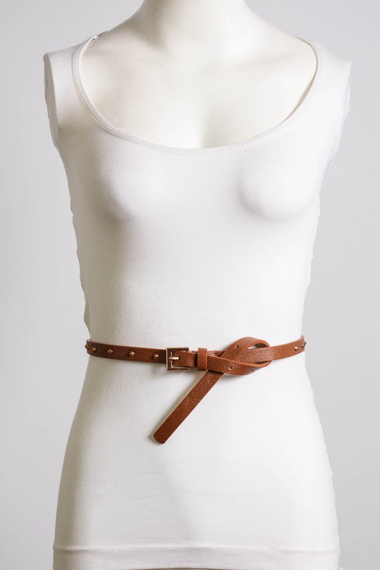 Studded Skinny Belt with Square Buckle