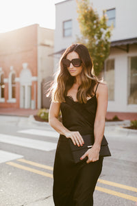 Miranda Black Satin Slip Dress
