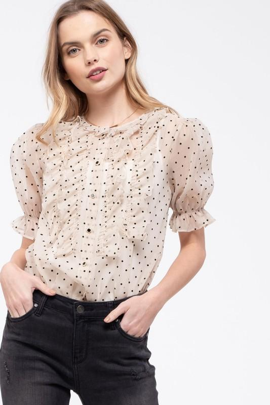 sheer white and black polka dot top with ruffles on front