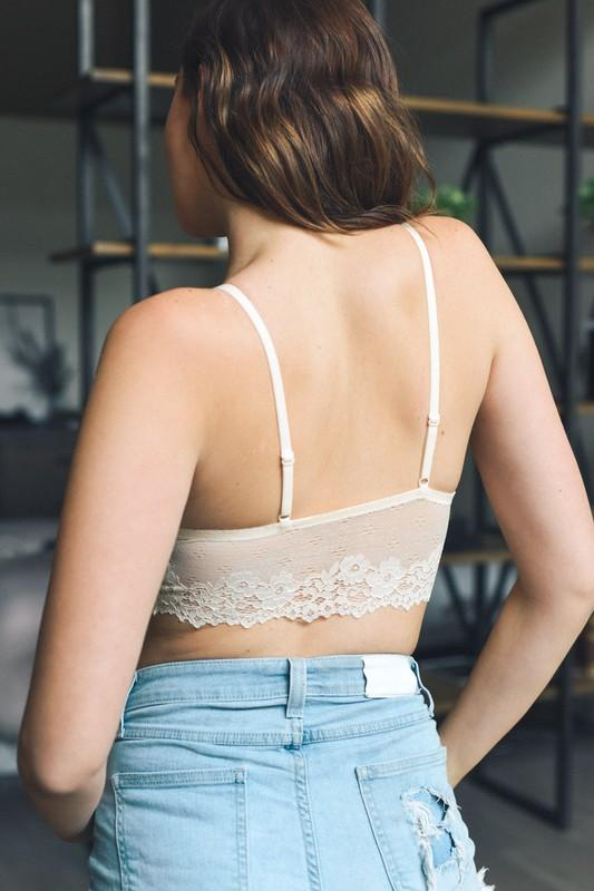 Cream Floral Lace Strappy Bralette