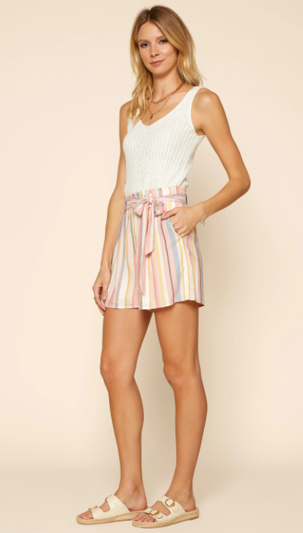 pastel striped high waisted shorts with belted waist