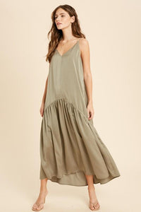 olive maxi dress with v-neck