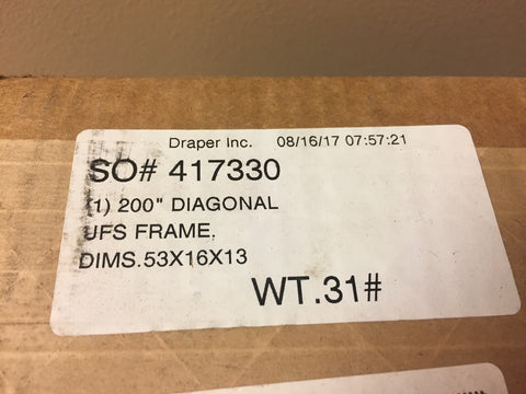 "Used Draper 200"" Screen Frame - New in Box"