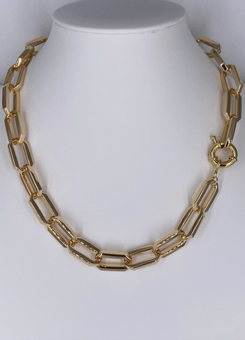 Gold Octagon Link Necklace