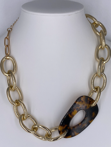 Tortoise and Gold Link Necklace