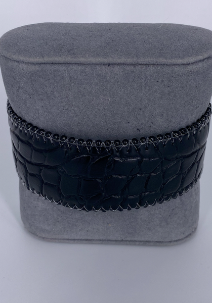 Crocodile Embossed Leather Cuff