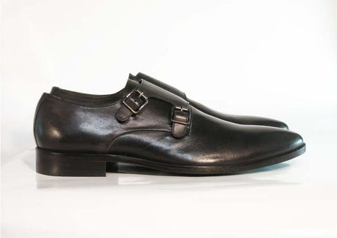 Gingers for Gentlemen HARDY Black leather double monk strap, made in Brazil