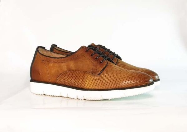 Brando x MJUS MALIBU perforated tan leather lace up