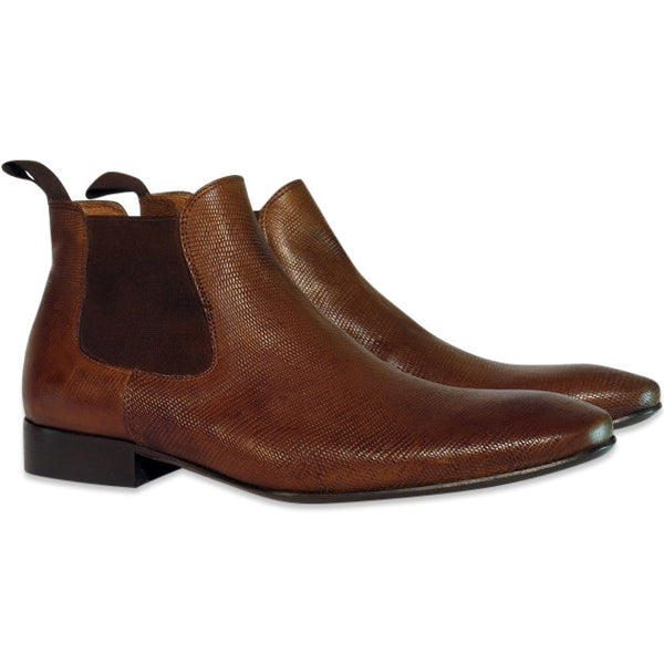 Gingers for Gentlemen OMAR lizard print leather chelsea boot