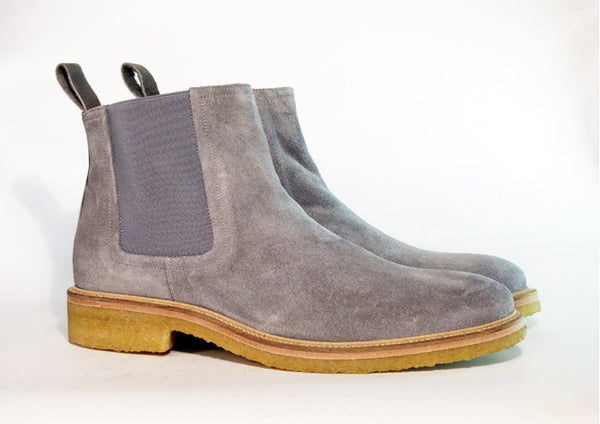Beau Coops SPENCE grey suede chelsea boot, Made in Italy