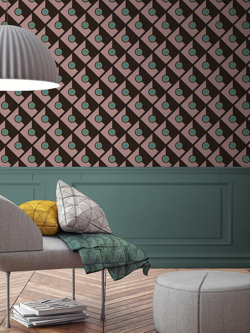 Jupiter10 geometric mid-century modern wallpaper Bucharest