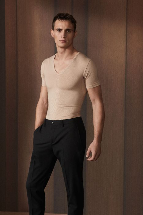 T shirt V neck slimfit dry cotton funktional 46098