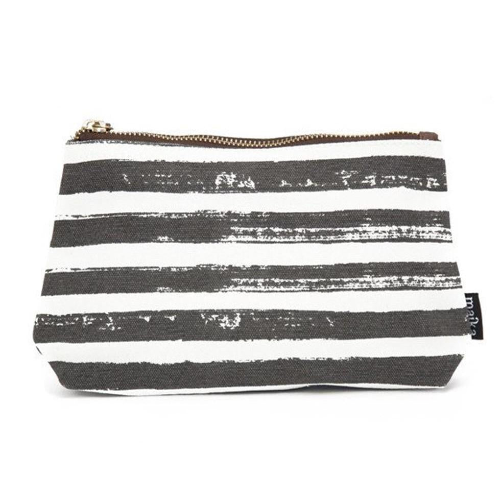 Canvas Pouch Small -  Stripes Charcoal